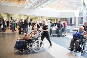 wheelchair travel at busy airport