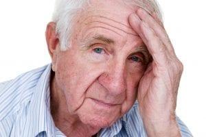 Elderly man worried face