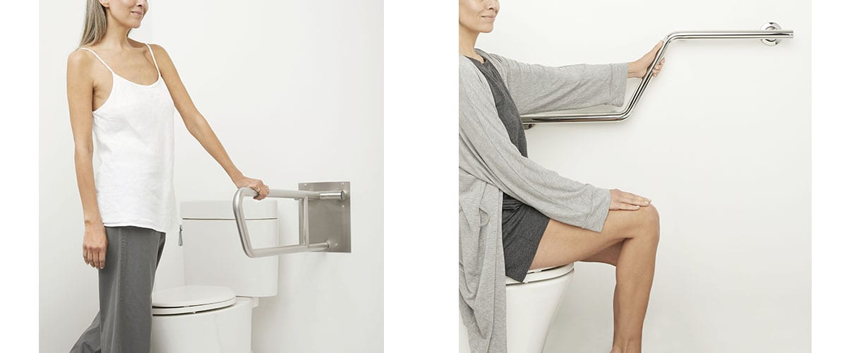 grab bars by the toilet make it easier to sit or stand