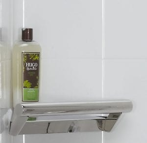 corner shelf with grab bar