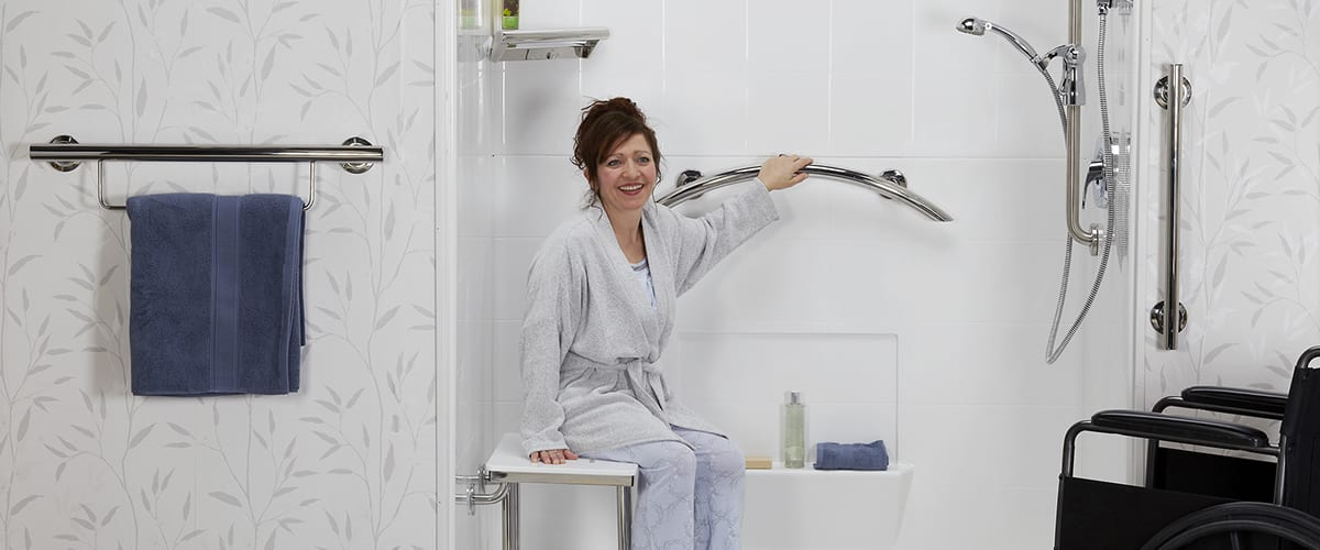 women in modern accessible shower