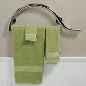 curve grab bar with towel bar