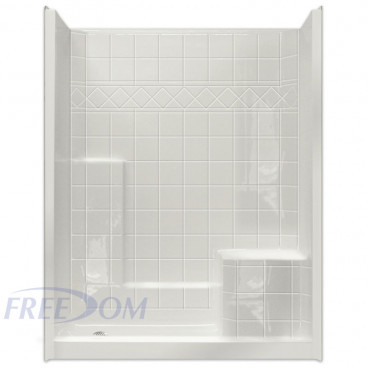 60 by 33 inch Walk In Showers With Seat For Elderly, Right hand molded seat, 4 inch threshold