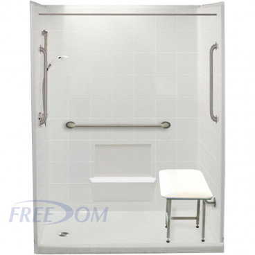 60 by 33 inch white Freedom Step In Showers, 4 inch threshold, left drain, 5 pieces for renos