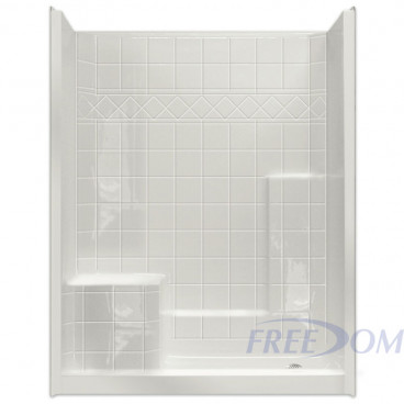 60 by 33 inch Walk In Showers With Bench, Left hand molded seat, 4 inch threshold, 1 piece
