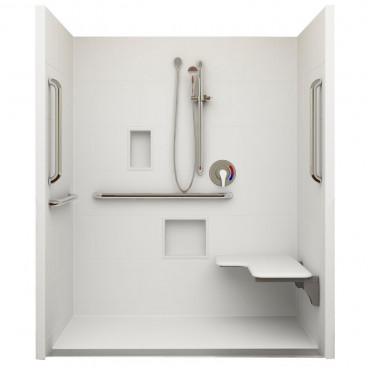 Linear Drain ADA Roll In Shower 60 in x 30in ID, Right Seat