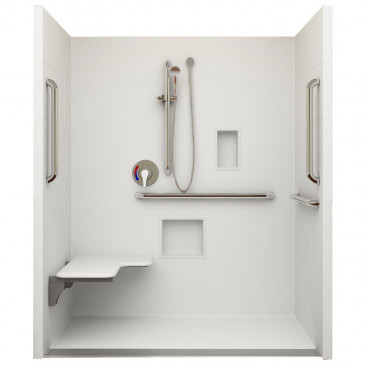 Trench Drain ADA Roll In Shower 60 in x 30in ID, Left Seat