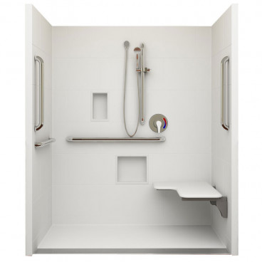 "62¼"" x 38⅛"" ADA Linear Drain Roll In Shower, Right Seat"