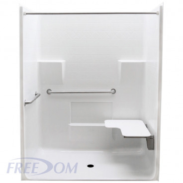 Freedom ADA Roll In Shower, Right Seat, 1 Piece 63 x 34 inches