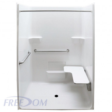 Freedom ADA Roll In Shower, Right Seat, 1 Piece, 63 x 38.5 inches
