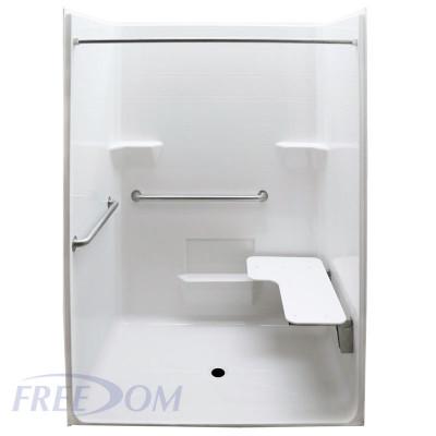 "63"" x 38½"" Freedom ADA Roll In Shower, RIGHT"