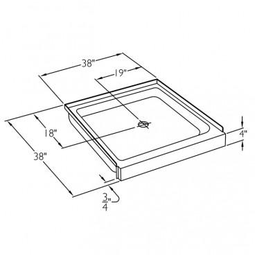 38 x 38 inch Ansi B shower pan drawing