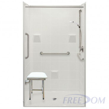 48 inch wide walk in shower stalls, white, 7/8 inch threshold, tile pattern. Add grab bars and seat.