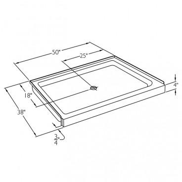 50 x 38 inch Ansi B shower base drawing