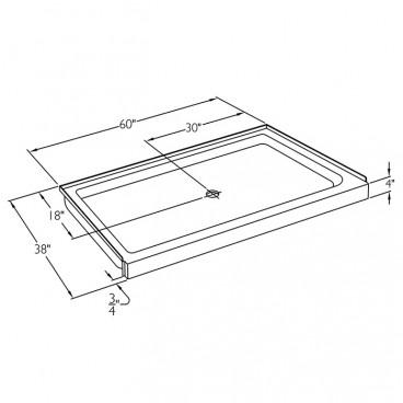 60 x 38 inch Ansi Type B shower pan drawing