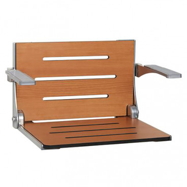 "19⅜"" x 16"" High Back Decorator Shower Seat w padded arms, Phenolic teak seat, silver frame"