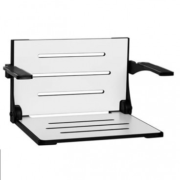 White shower seat with black frame and arms 19 x 16 inch High Back Decorator Shower Seat