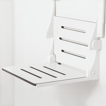 arms folded up on decorator slim frame shower seat