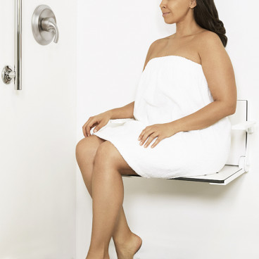woman sitting on High back shower chair with arms
