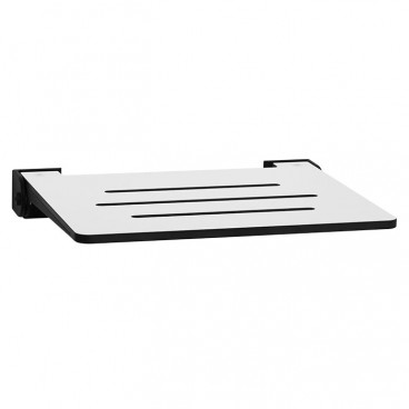 wall mounted folding shower seat WHITE slotted seat with black slim frame