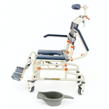 roll in shower chair  with tilt and commode system
