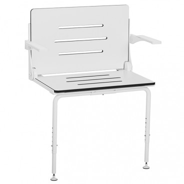 bariatric folding shower seat wall mounted with arms white