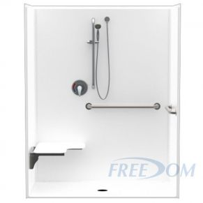 "62"" x 33"" Freedom ADA Roll In Shower, LEFT"