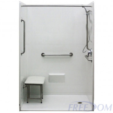 white 54 by 31 inch walkin showers, right drain, 1 inch threshold, added grab bars and shower seat.