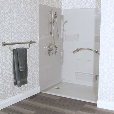 barrier free shower in Ice Grey color