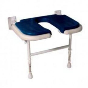 Wide U Shaped folding shower seat BLUE Pad