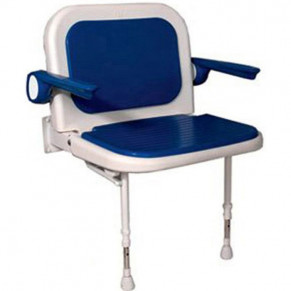 "27¾"" x 22¾"" Wide Shower Chair with Back & Arms, BLUE Pad"