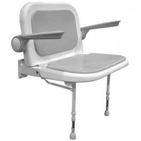 "27¾"" x 22¾"" Wide Shower Chair with Back & Arms, GRAY Pad"