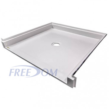 ID 36 X 36 ADA Shower Pan, three quarter inch threshold, center drain, recessed receiver flange