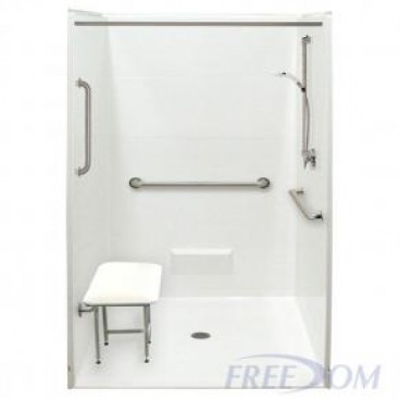 Freedom Accessible Shower, Center Drain, 5 Piece, 50.5 x 50.125 inches