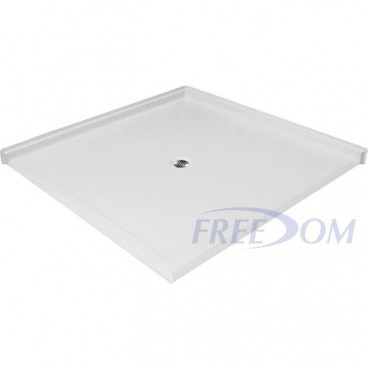 50 x 50 inch  Accessible Corner Shower Base, white, 1 inch roll in threshold, textured floor.