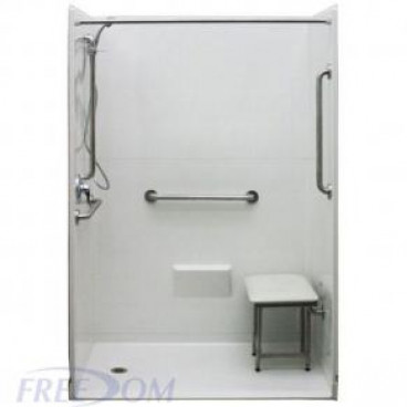 54 by 31 inch barrier free showers, white, for mobile homes, 1 inch threshold, added shower seat.