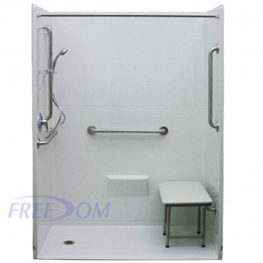 54 x 36.875 inches Freedom Accessible Showers, Left Drain