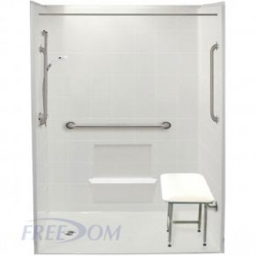 60 x 31 inches Freedom Accessible Showers, Left Drain