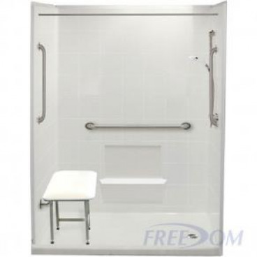60 by 31 inch Senior Walk In Showers, right drain, 4 inch threshold, white tile pattern