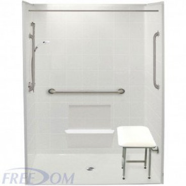60 x 33.375 inches Freedom Accessible Shower, Center Drain