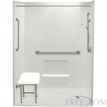 60 by 33 inch white wheelchair accessible shower, 1 inch threshold, right drain, 5 pieces