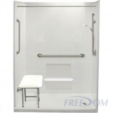 60 by 33 inch Freedom Walk In Showers For Seniors, 4 inch curb, Right drain, 5 pieces for renos