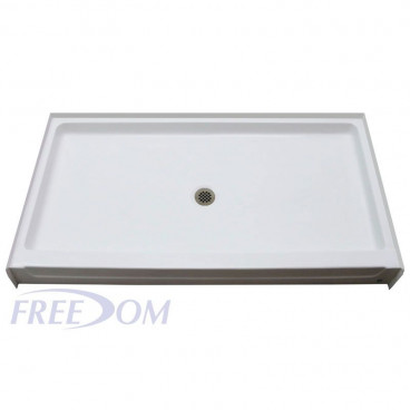 60 x 37 inch fiberglass shower pan center drain
