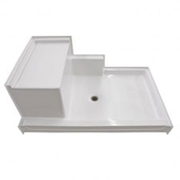 "60"" x 37¼"" Freedom Easy Step Shower Pan with molded seat,  LEFT Seat"