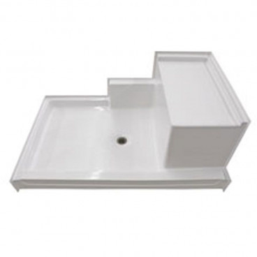60 x 36 inch fiberglass shower pan with molded seat