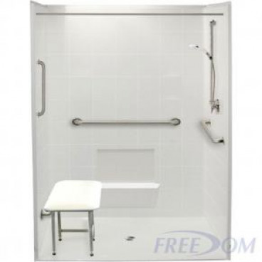60 by 37 inch white Roll in showers for wheelchair, 7/8 inch threshold, center drain, 5 pieces