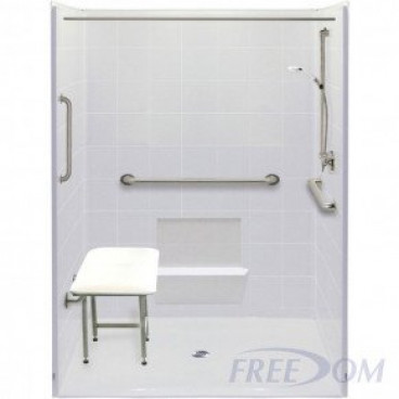60 by 49 inch white Roll in Shower Enclosure, 7/8 inch threshold, center drain, 5 pieces