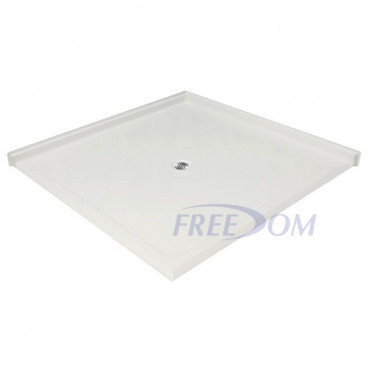 61 x 61 inch large Corner Accessible Shower Pan, white, Center drain, roll in threshold on two sides