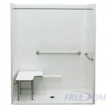 Freedom ADA Roll In Shower, Center Drain, 5 Piece, 62.625 x 32.25 inches