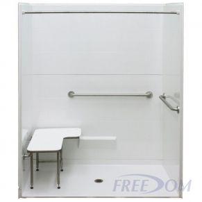 "62⅝"" x 38¼"" Freedom ADA Roll In Shower, CENTER drain"